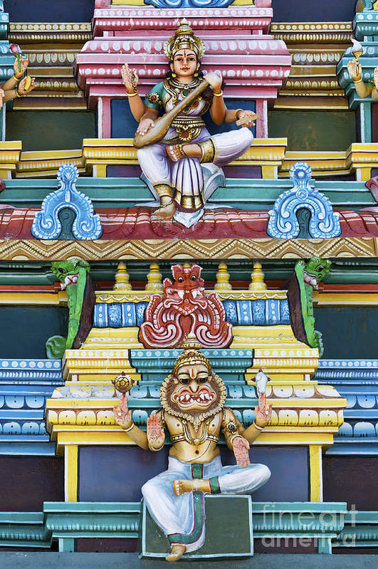 Gods Poster featuring the photograph Hindu Temple Deity Statues by Tim Gainey