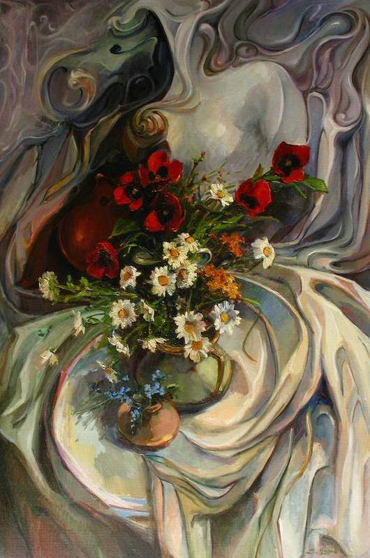 Still-life With Daisies Poster featuring the painting Jazzy Still-life by Tigran Ghulyan