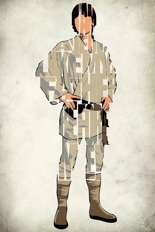 Luke Skywalker Poster featuring the drawing Luke Skywalker - Mark Hamill by Ayse Deniz