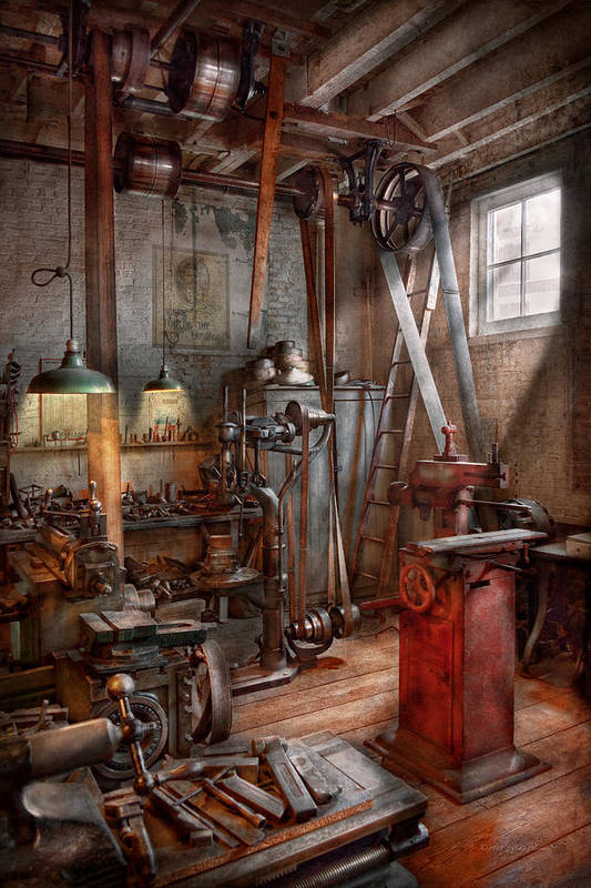 Savad Poster featuring the photograph Machinist - The Modern Workshop by Mike Savad