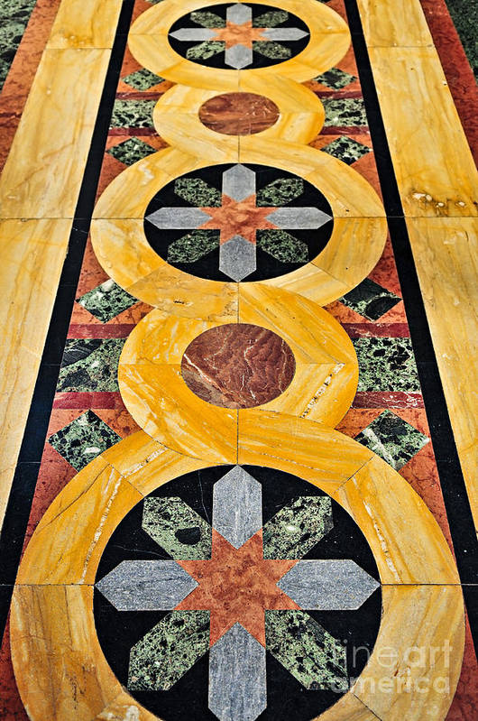 Marble Poster featuring the photograph Marble Floor In Orthodox Church by Elena Elisseeva