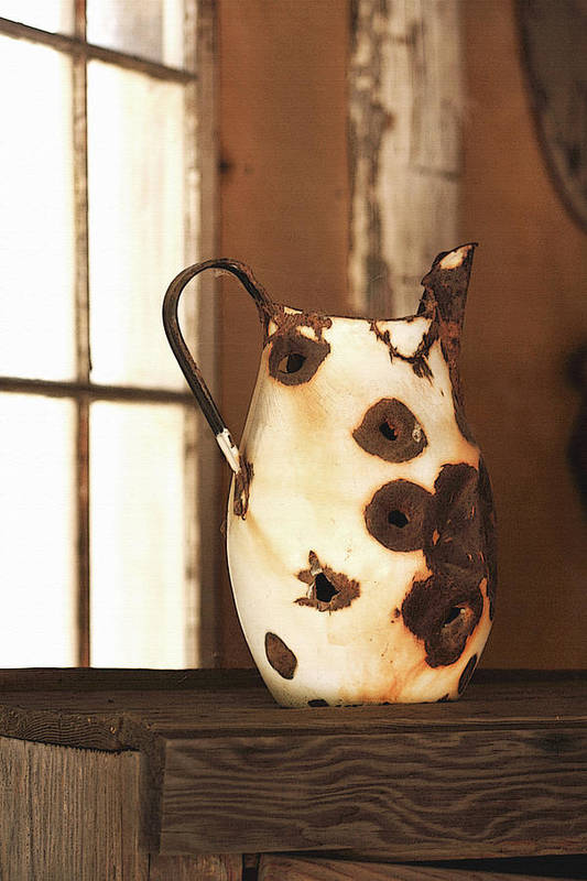Pitcher Poster featuring the photograph Old Metal Pitcher by Art Block Collections