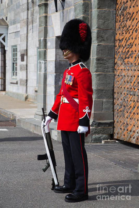 Quebec Poster featuring the photograph On Guard Quebec City by Edward Fielding