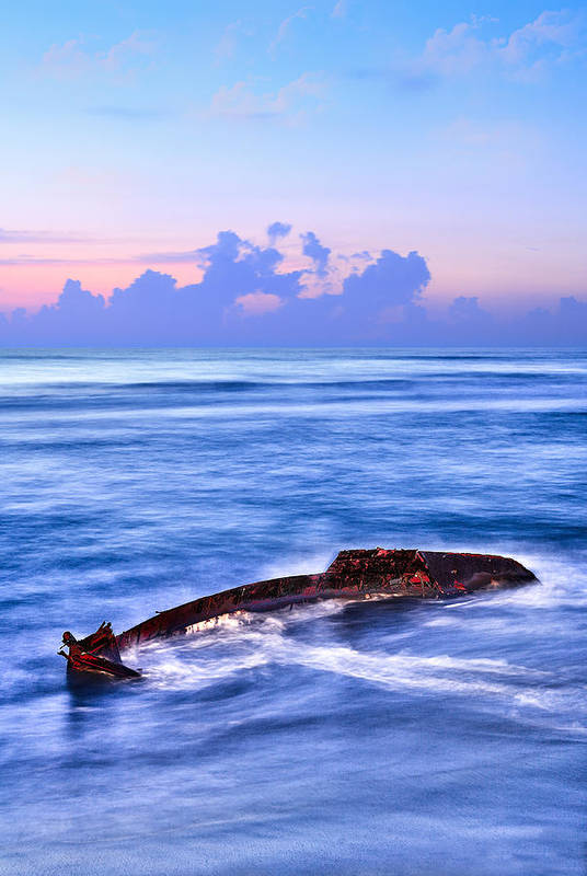 Outer Banks Poster featuring the photograph Outer Banks - Beached Boat Final Sunrise II by Dan Carmichael