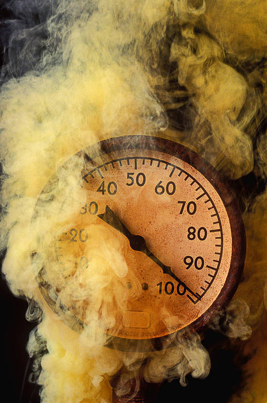 Pressure Gauge Poster featuring the photograph Pressure Gauge With Smoke by Garry Gay