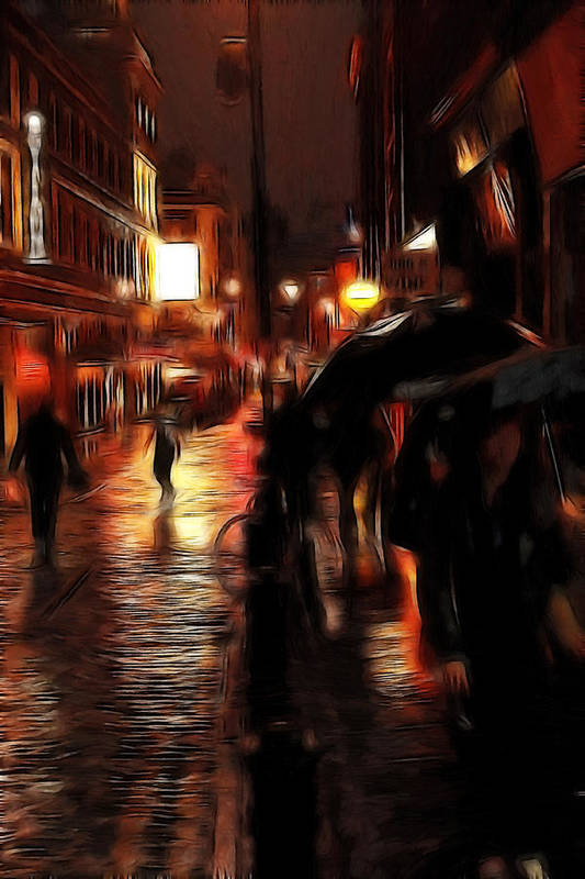 Rainy Day Soho Evening Dark Umbrella Soho London Street People Woman Women Female Male Bicycle Oil Painting City Cityscape Poster featuring the painting Rainy Day In Soho by Stefan Kuhn
