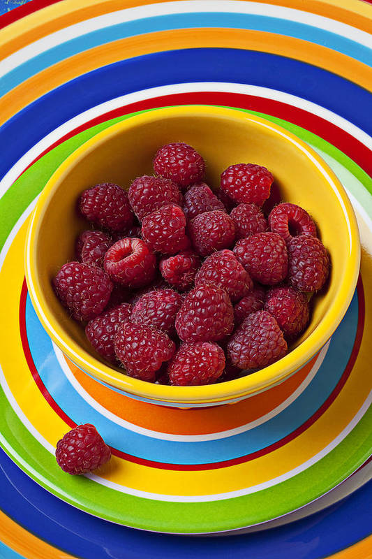 Raspberries Yellow Bowl Poster featuring the photograph Raspberries In Yellow Bowl On Plate by Garry Gay