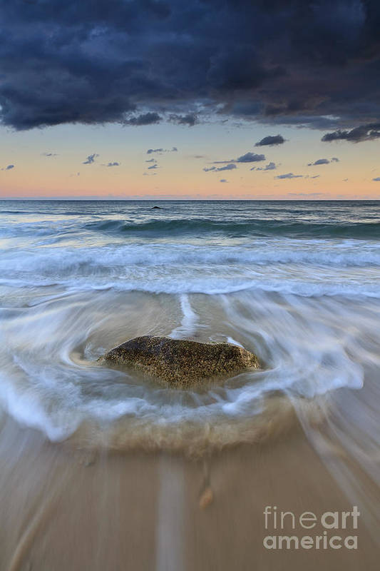 Ocean Wave Poster featuring the photograph Receding Wave Stormy Seascape by Katherine Gendreau