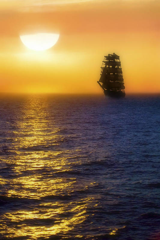 Sailing Ship Poster featuring the photograph Sailing Out Of The Fog At Sunrise by Jason Politte