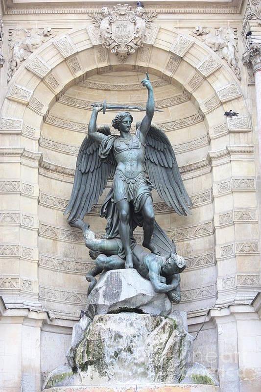 Saint Michael Poster featuring the photograph Saint Michael The Archangel In Paris by Carol Groenen