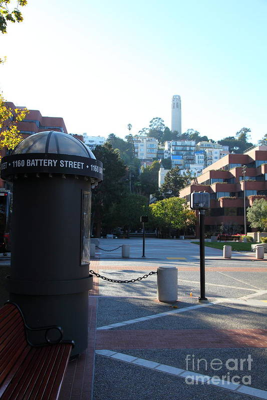 San Francisco Coit Tower Poster featuring the photograph San Francisco Coit Tower At Levis Plaza 5d26213 by Wingsdomain Art and Photography