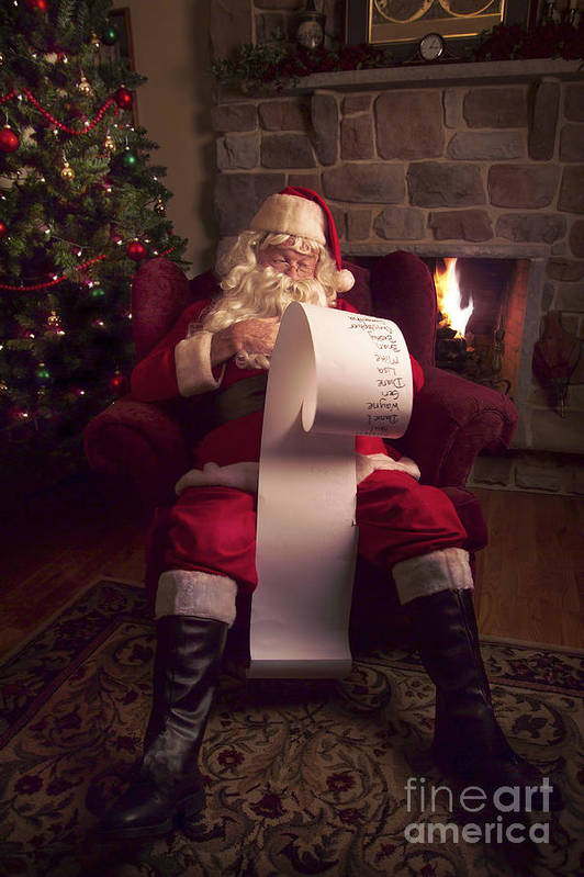 Santa Claus Poster featuring the photograph Santa Checking His List by Diane Diederich
