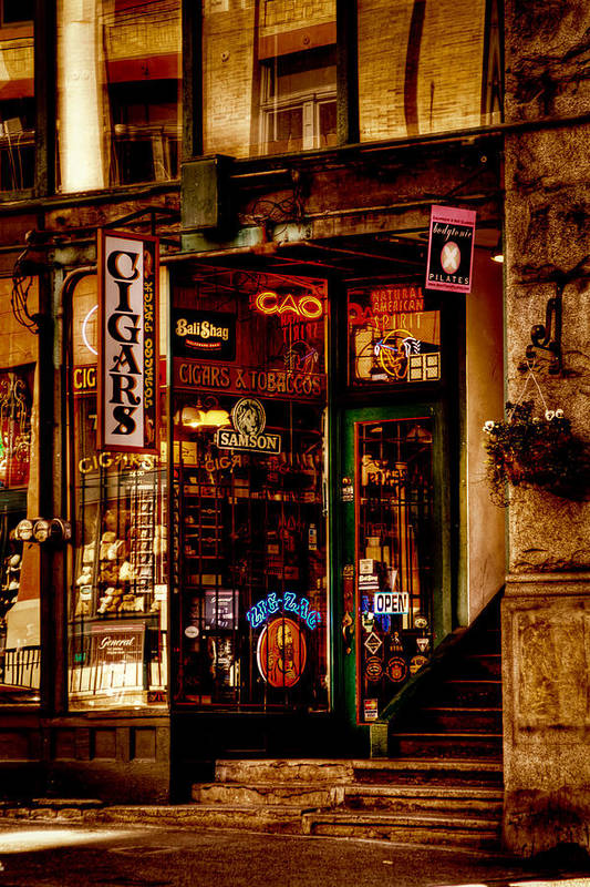 Pioneer Square Seattle Poster featuring the photograph Seattle Cigar Shop by David Patterson