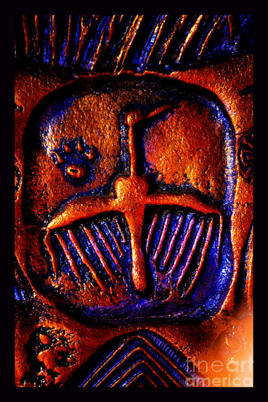 Cougar Paw Print Petroglyph Poster featuring the photograph Shamanic Desert by Susanne Still