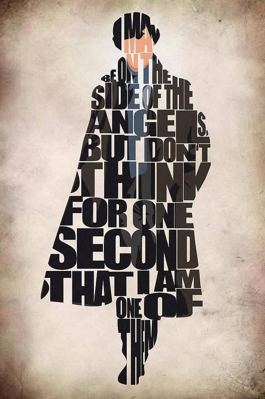 Sherlock Poster featuring the digital art Sherlock - Benedict Cumberbatch by Ayse Deniz
