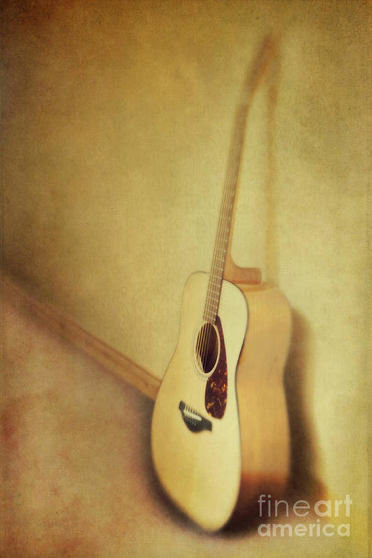 Acustic Poster featuring the photograph Silent Guitar by Priska Wettstein