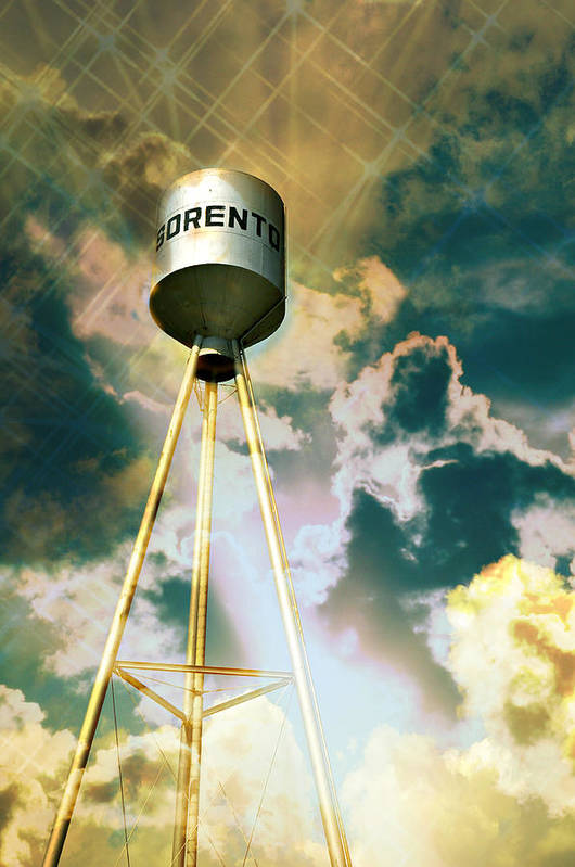 Water Tower Poster featuring the photograph Sorento Illinois Tower by Marty Koch