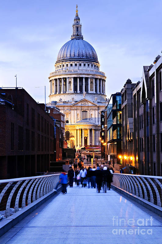 Saint Poster featuring the photograph St. Paul's Cathedral London At Dusk by Elena Elisseeva