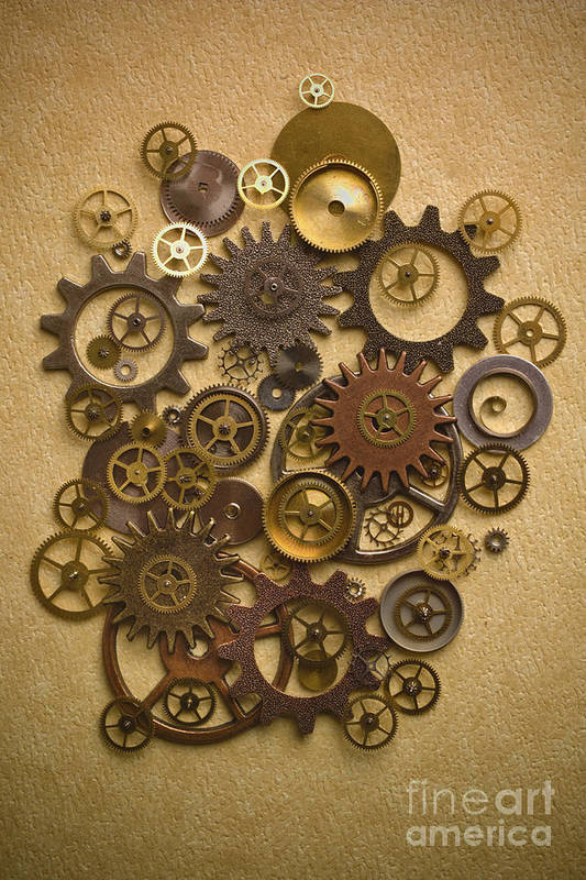 Gears Poster featuring the photograph Steampunk Gears by Diane Diederich