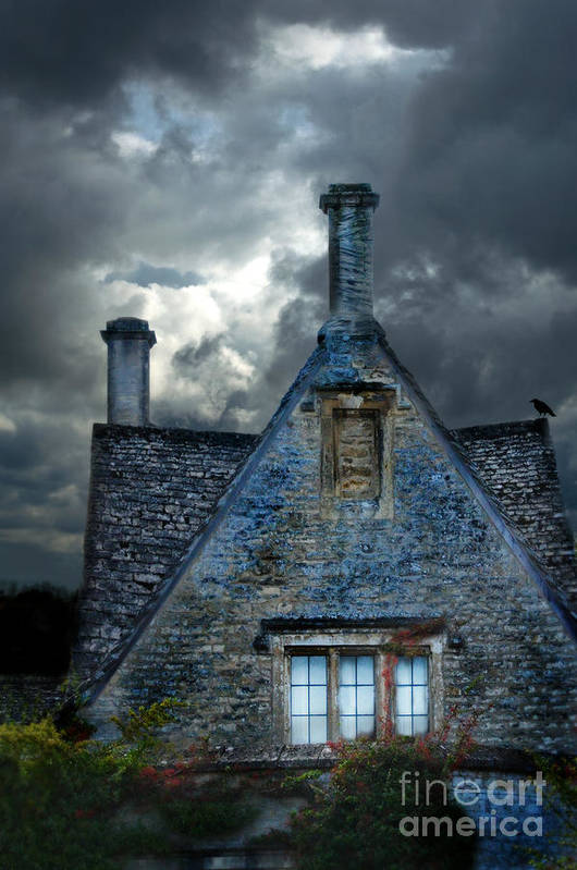 House Poster featuring the photograph Stone Cottage In A Storm by Jill Battaglia