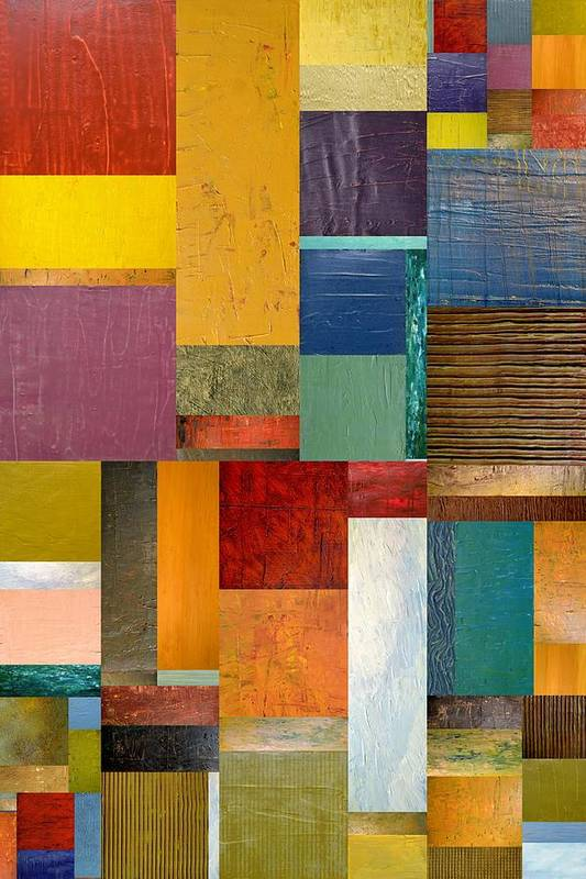 Textural Poster featuring the painting Strips And Pieces Ll by Michelle Calkins