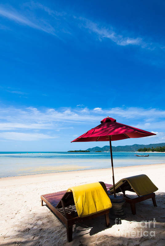 Bali Poster featuring the photograph Tanning Beds On A Tropical Beach Koh Samui Thailand by Fototrav Print