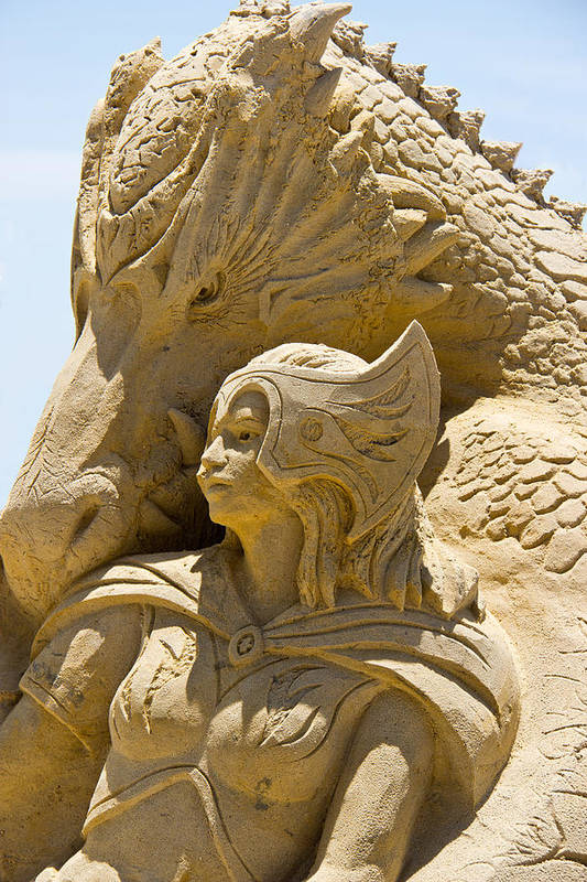 Sand Castle Poster featuring the photograph The Dragon And The Goddess by Tom Gari Gallery-Three-Photography