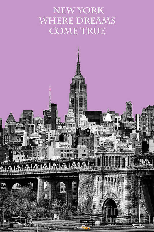 New York Canvas Poster featuring the photograph The Empire State Building Pantone African Violet Light by John Farnan
