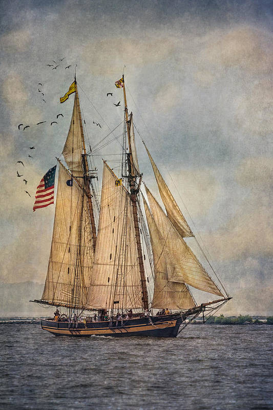 Pride Of Baltimore Ii Poster featuring the digital art The Pride Of Baltimore II by Dale Kincaid