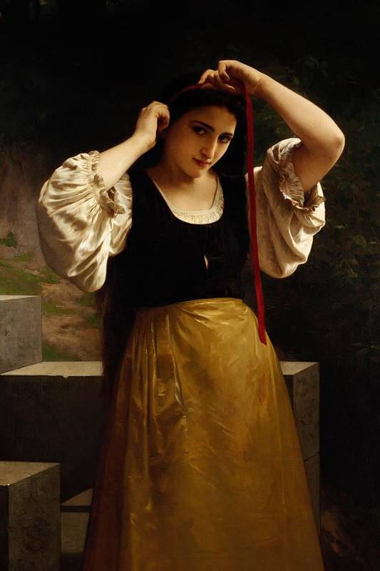 The Red Ribbon Poster featuring the painting The Red Ribbon by William Adolphe Bouguereau