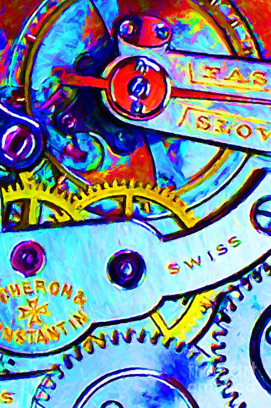 Steampunk Poster featuring the photograph Time In Abstract 20130605 by Wingsdomain Art and Photography