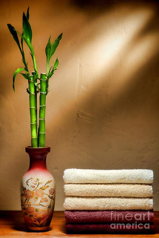 Towels Poster featuring the photograph Towels And Bamboo by Olivier Le Queinec