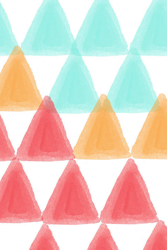 Triangles Poster featuring the painting Trifold- Colorful Abstract Pattern Painting by Linda Woods