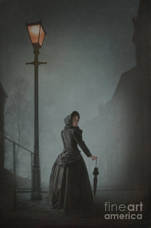 Victorian Poster featuring the photograph Victorian Woman Under Streetlamp In Fog by Lee Avison