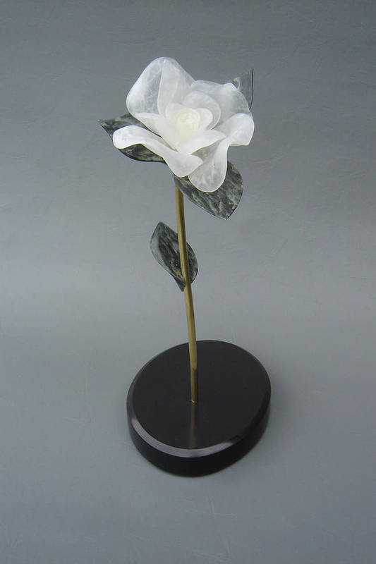 Flower Poster featuring the sculpture White Rose by Leslie Dycke