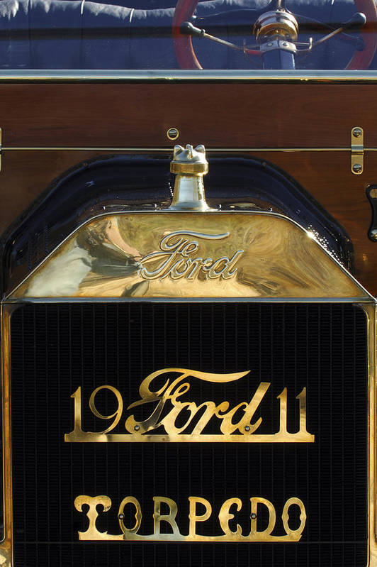 1911 Ford Model T Torpedo Poster featuring the photograph 1911 Ford Model T Torpedo Hood Ornament by Jill Reger