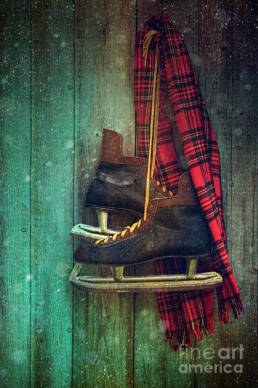 Atmosphere Poster featuring the photograph Old Ice Skates Hanging On Barn Wall by Sandra Cunningham