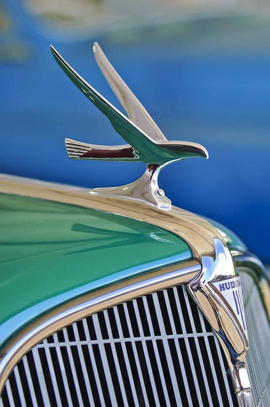 1935 Hudson Touring Sedan Poster featuring the photograph 1935 Hudson Touring Sedan Hood Ornament by Jill Reger
