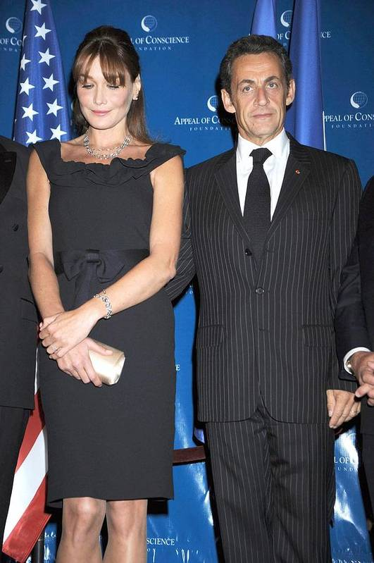 2008 World Statesman Award Ceremony Hosted By Appeal Of Conscien Poster featuring the photograph Carla Bruni Sarkozy, Nicolas Sarkozy by Everett