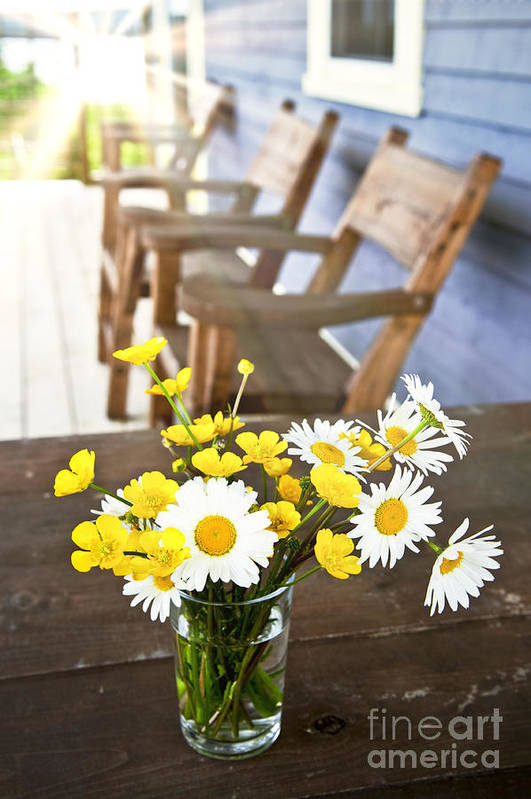 Bouquet Poster featuring the photograph Wildflowers Bouquet At Cottage by Elena Elisseeva