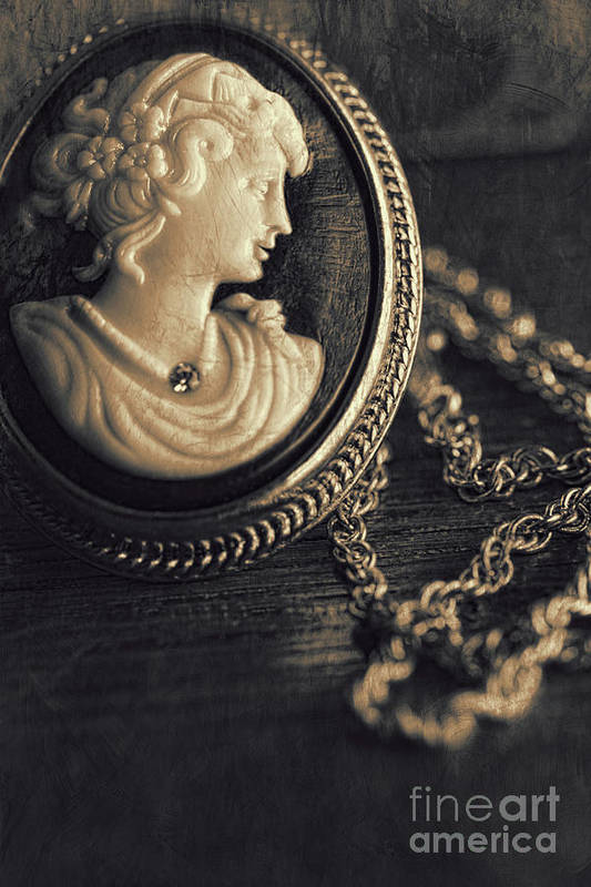 Atmosphere Poster featuring the photograph Antique Cameo Medallion On Wood by Sandra Cunningham