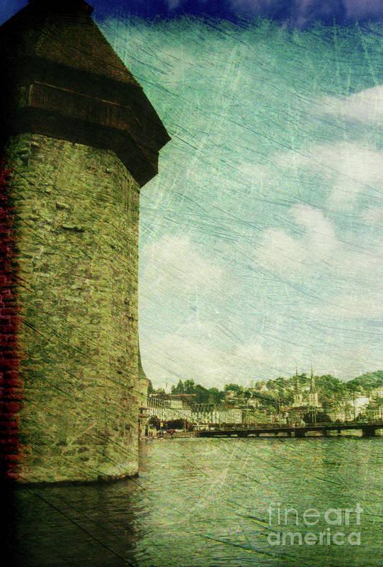 Chapel Bridge Poster featuring the photograph Chapel Bridge Tower In Lucerne Switzerland by Susanne Van Hulst