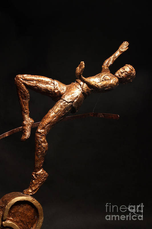 Olympic Poster featuring the sculpture Citius Altius Fortius Olympic Art High Jumper On Black by Adam Long