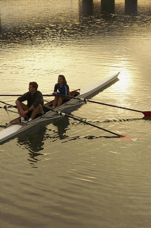 people Poster featuring the photograph Crew Model Released Rowers Take A Break by Phil Schermeister