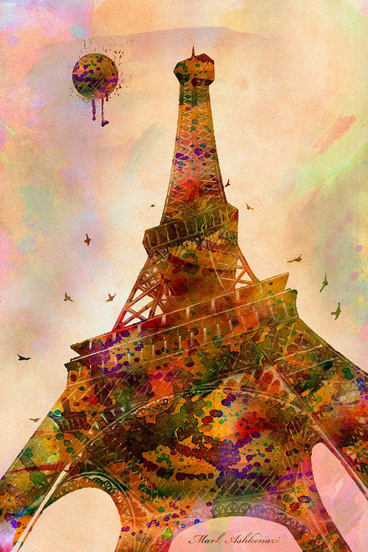 Eiffel Tower Poster featuring the digital art Eiffel Tower by Mark Ashkenazi