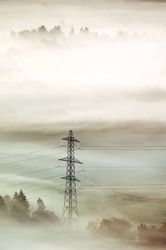 Pylon Poster featuring the photograph Electricity Pylon In Fog by Duncan Shaw