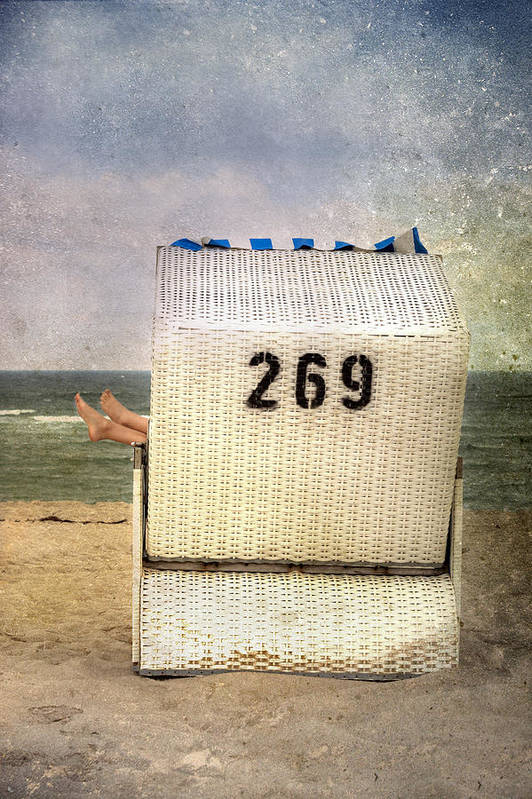 Female Poster featuring the photograph Feet And Beach Chair by Joana Kruse
