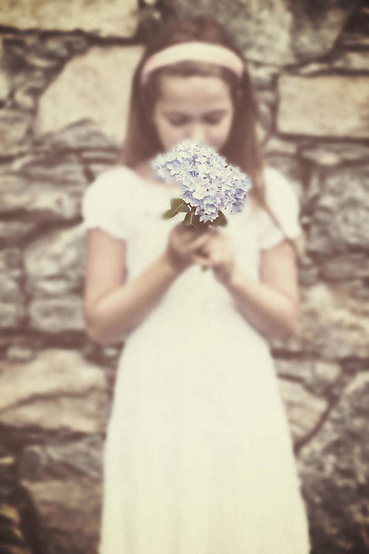 Girl Poster featuring the photograph Girl With Hydrangea by Joana Kruse