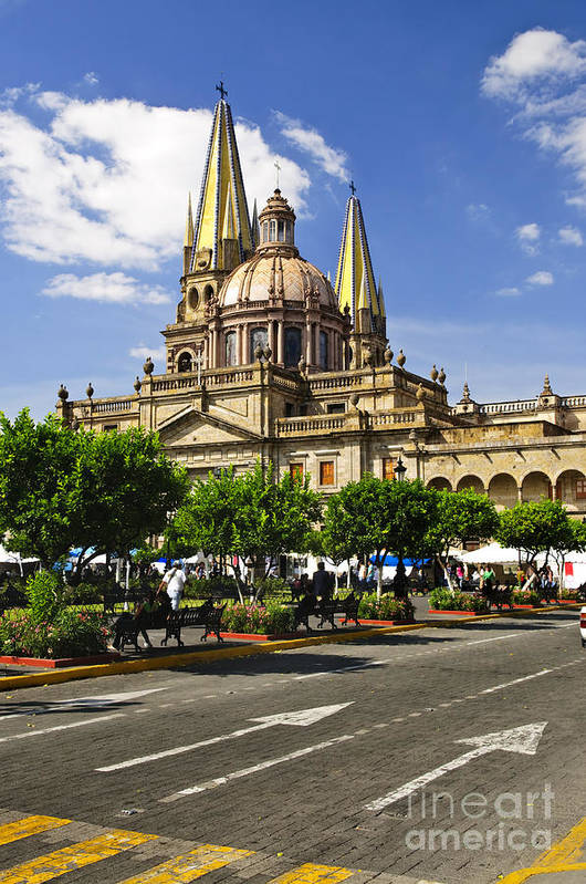 Guadalajara Poster featuring the photograph Guadalajara Cathedral by Elena Elisseeva