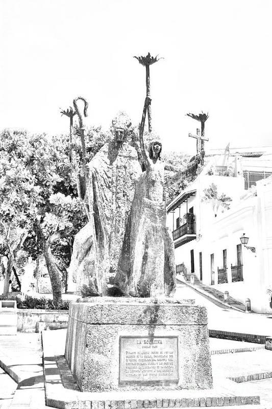 Old San Juan Poster featuring the digital art La Rogativa Sculpture Old San Juan Puerto Rico Black And White Line Art by Shawn O'Brien